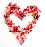 Red craft beads in a heart shape Royalty Free Stock Photography