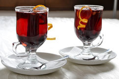 Red and cranberry punch. Two glasses of served red and cranberry punch Royalty Free Stock Image