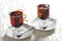 Red and cranberry punch. Two glasses of served red and cranberry punch Royalty Free Stock Images