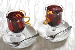 Red and cranberry punch. Two glasses of served red and cranberry punch Royalty Free Stock Photos