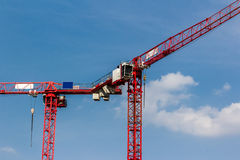 Red Crane on Blue Sky. Detail of red cranes on a blue summer sky Stock Images