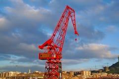 Red crane, Carola, in Bilbao, Basque Contry, Spain. Front view of red crane, Carola, in Bilbao, Basque Contry, Spain Royalty Free Stock Image