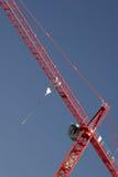 Red Crane High Up Stock Photo