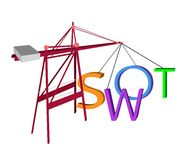Red Crane Loading The SWOT Analysis Concept Royalty Free Stock Photos