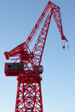 Red Crane in old harbor of Bilbao Royalty Free Stock Photo