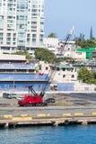 Red Crane on Puerto Rican Pier Stock Image