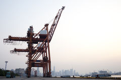 Red crane at shanghai huangpu river port Stock Photography