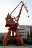 Red crane at shanghai huangpu river port Stock Image