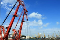 Red cranes in the sea port. Stock Image