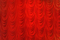 Red crape velvet curtain Stock Photos