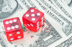 Red Craps Dice. Winning Number Red Craps Dice On American Money Royalty Free Stock Photography