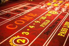 Red Craps Table in casino Stock Photo