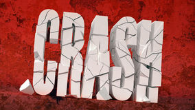 Red crash. Cracks on a word crash Stock Photos