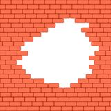 Red crashed brick wall texture background. Vector illustration. Royalty Free Stock Photo