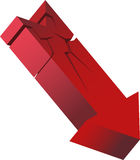 Red Crashing Arrow. 3D image of a cracking arrow heading downward Royalty Free Stock Photo