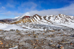 Red Crater in cloud in the Tongariro National Park, New Zealand Royalty Free Stock Photography
