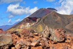 Red crater of Mount Tongariro in New Zealand stock image