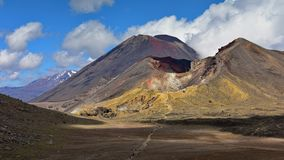 Red crater of Mount Tongariro, an active volcano in New Zealand royalty free stock photos