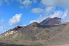 Red crater of Mount Tongariro, an active volcanic vent stock images