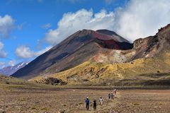 Red crater of Mount Tongariro in New Zealand royalty free stock images