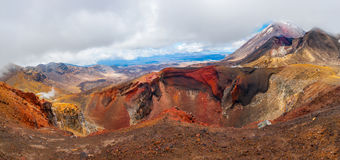 Red Crater. Panoramic photo of the Red Crater on the top of Tongariro Volcano with a Mount Ngauruhoe in the back, Tongariro Crossing National Park - New Zealand Stock Photos