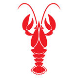 Red crawfish on white background. Vector icon or sign. Royalty Free Stock Photos