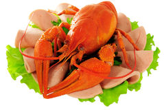 Red crayfish on saucer. Stock Images