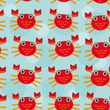 Red crayfish Seamless pattern with funny cute Stock Photography