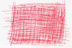 Red crayon drawing on white paper Royalty Free Stock Photo