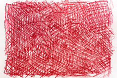 Red crayon drawings on paper background texture Stock Photos