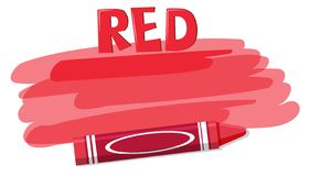 A red crayon on white background. Illustration stock illustration
