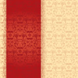 Red and cream classical oriental floral dragonfly vertical banner Royalty Free Stock Photos