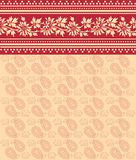 Red and cream floral saree design Royalty Free Stock Photo