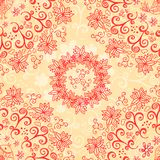 Red and cream floral seamless pattern Stock Photo