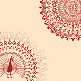 Red and cream Indian peacock mandala background Stock Image
