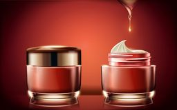 Red cream jar mockup. Blank cosmetic container template for design use with cream texture in 3d illustration, glowing red background Royalty Free Stock Photos