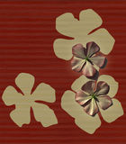 Red & cream ribbed flower print Stock Images