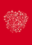 Red and creamy background with love heart Royalty Free Stock Image