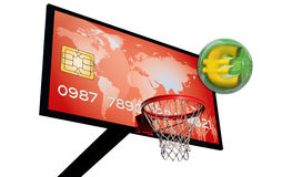 Red credit card. Credit card on a basketball panel with a euro 3d in a green chrome sphere Royalty Free Stock Photo