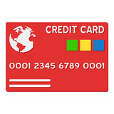 Red Credit Card Flat Icon Isolated on White Stock Photo