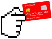 Red credit card in pixelated hand. Illustration Royalty Free Stock Photos