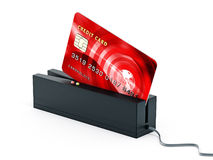 Red credit card on POS terminal. 3D illustration Stock Photography