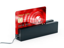 Red credit card on POS terminal. 3D illustration Stock Photos
