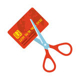 Red credit card and scissors Royalty Free Stock Images