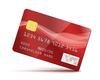 Red Credit Card. Vector Illustration isolated on white Royalty Free Stock Photos
