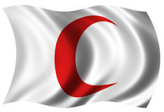 Red Crescent Flag. The Red Crescent flag billowing in the wind. Designed Russo-Turkish war in place of the cross Royalty Free Stock Photos