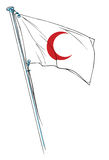 Red crescent flag waving Royalty Free Stock Photo