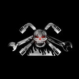 Red crest with skull,flame and spanners Stock Image