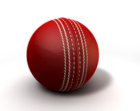 Red Cricket Ball. An red leather cricket ball on a white background stock illustration