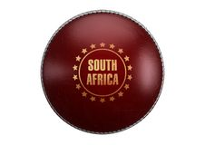 Red Cricket Ball. A side view of red cricket ball with a gold foil branding area and the country name of south africa on an isolated background - 3D render stock illustration